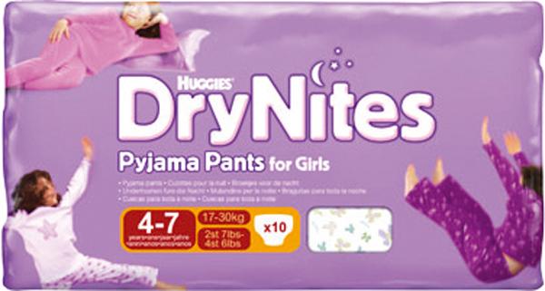 Bleie barn Huggies drynites 17-30kg girl 4-7år10pk