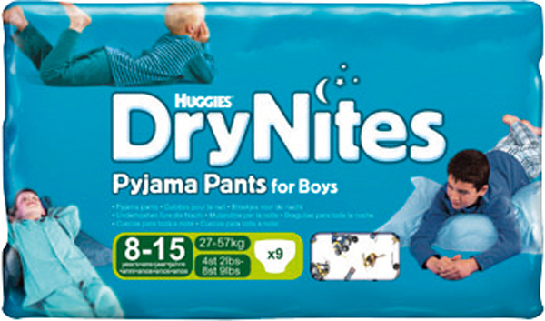 Bleie barn Huggies drynites 27-57kg boy 8-15år 9pk