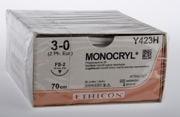 Sutur Monocryl Y423H 3-0 FS-2 70cm hvit