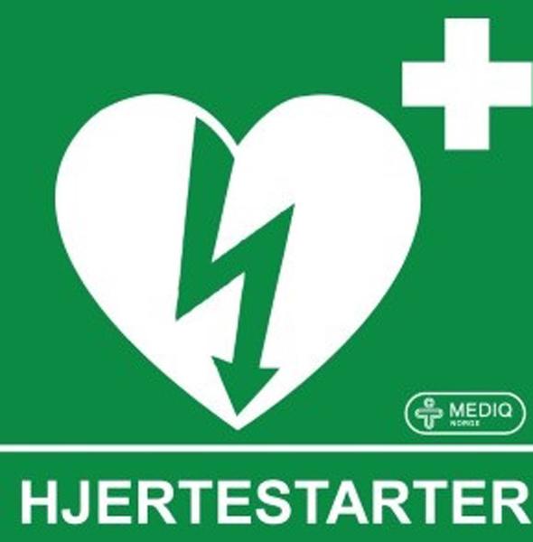 Hjertestarter klistremerke etterlysende 9x11cm