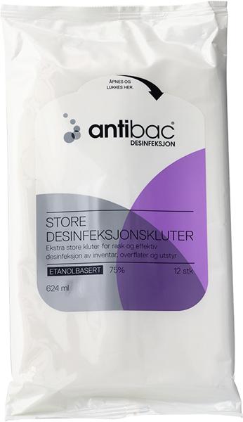 Desinfeksjon Antibac 75% klut overflate stor 12stk