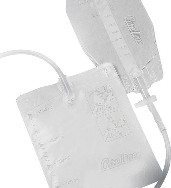 Urinpose Care Line ben 0,5l tømbar 50cm slange