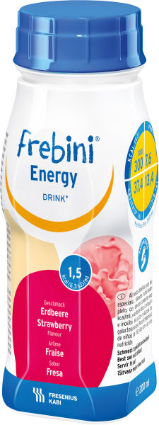 Drikk Frebini Energy Drink jordbær 200ml 4pk