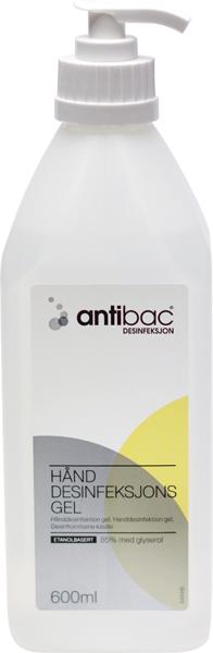 Hånddesinfeksjon Antibac 85% gel m/pumpe 600ml