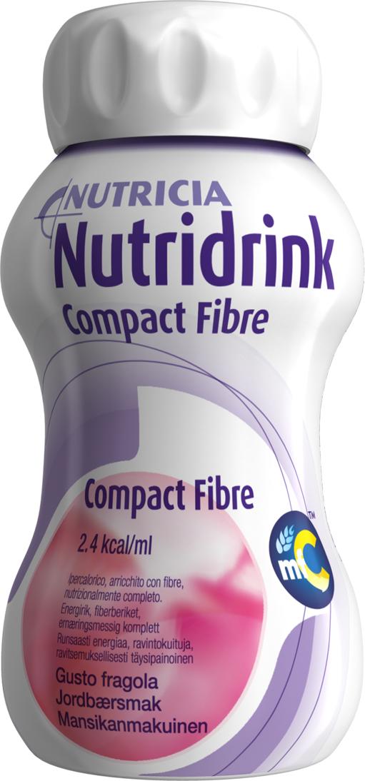 Drikk Nutridrink Compact Fibre jordbær 125ml 4pk