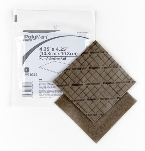 Bandasje sølv skum PolyMem u/kleber 10,8x10,8cm