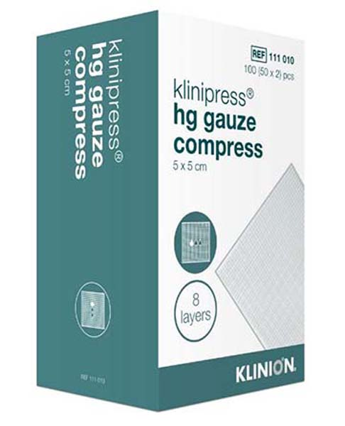 Kompress gas Klinion 5x5cm 8lag 2pk