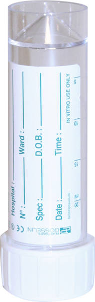 Urinprøve-/preparatglass m/etikett 30ml gradert
