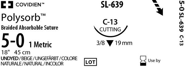Sutur Polysorb 5-0 USP C-13  45cm