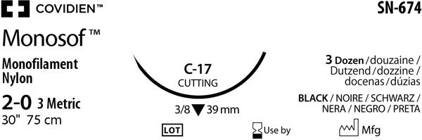 Sutur Monosof 2-0 sort  C17 75cm