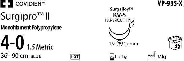 Sutur Surgipro II 4-0 blå  KV5 DA 90cm