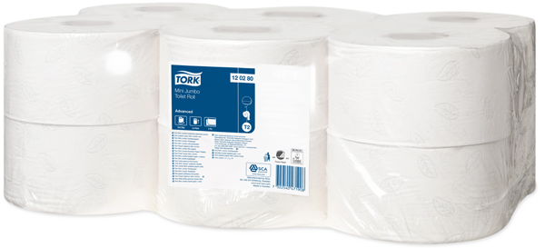 Toalettpapir Tork Mini Jumbo 2-lags 170m hvit