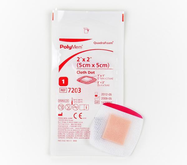 Bandasje skum PolyMem nw m/fikser 2,5x2,5cm hvit