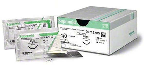 Sutur Supramid 4-0 DS24 45cm sort