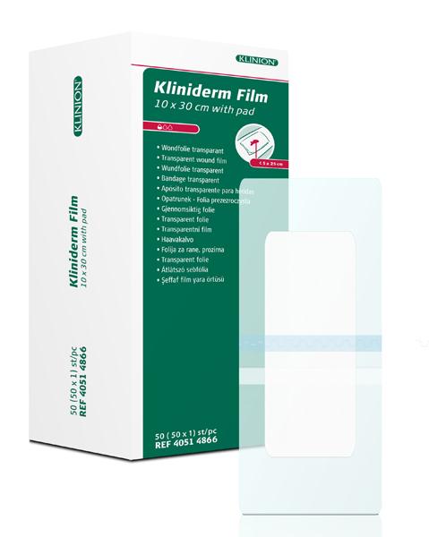 Bandasje transparent Kliniderm Film m/pad 10x30cm