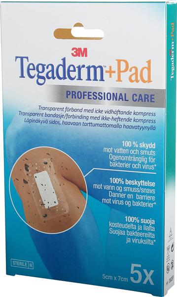 Bandasje transparent Tegaderm +Pad 5x7cm 5pk