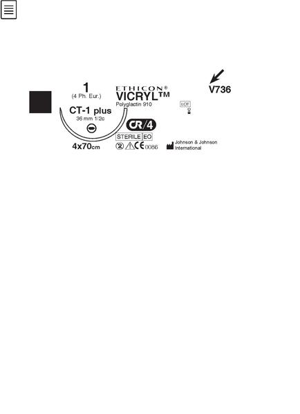 Sutur Ethilon W736G 2-0 USP 100cm sort