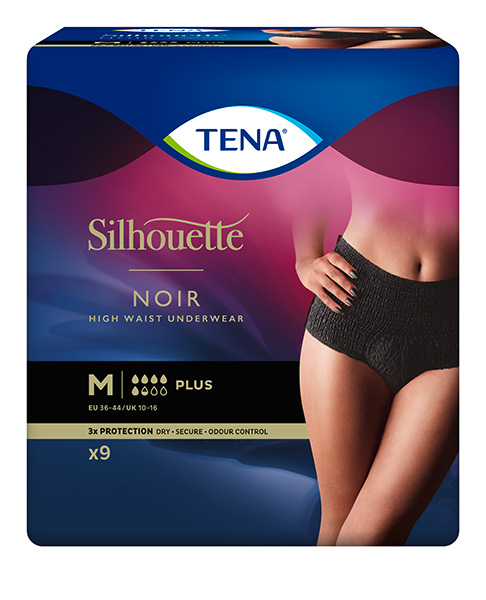Bleie TENA Silhouette Plus High Waist M Sort 9pk