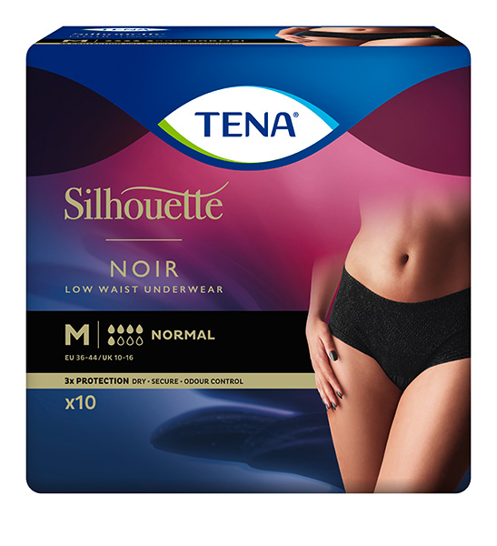 Bleie TENA Silhouette Normal Low Waist M Sort 10pk