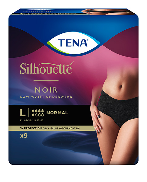 Bleie TENA Silhouette Normal Low Waist L Sort 9pk