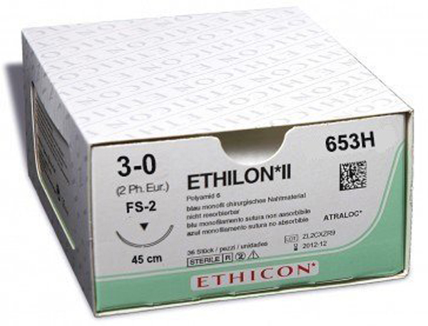 Sutur Ethilon 653H 3-0 FS-2 sort 45cm