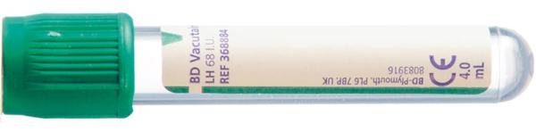 Vakumrør Vacutainer Li-Heparin 5/4ml grønn