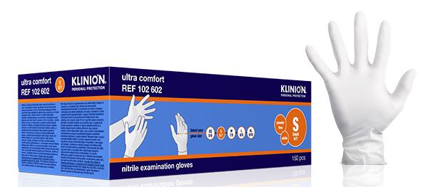 Hanske nitril Klinion Ultra Comfort kort S hvit