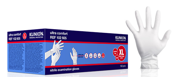 Hanske nitril Klinion Ultra Comfort kort XL hvit