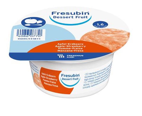 Dessert Fresubin fruit eple-jordbær 125gr 4pk
