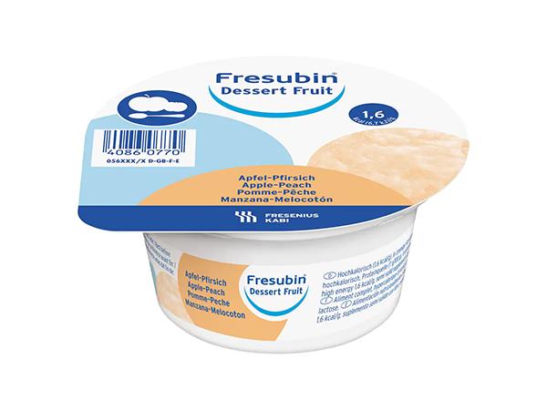 Dessert Fresubin fruit eple-fersken 125gr 4pk