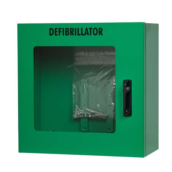 Hjertestarter skap m/alarm grønt 40x40x20cm