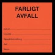 ETIKETT FARLIGT AVFALL 100ST/RULLE ORANGE/SVART TEXT