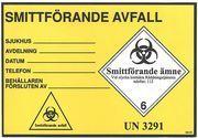 ETIKETT SMITTFÖRANDE AVFALL 152X105MM GUL/SVART 100ST/RLE