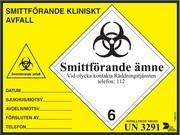 ETIKETT SMITTFÖRANDE AVF 150X200MM GUL/SVART 100/RLE