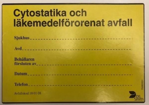 ETIKETT CYTOSTAT O LÄKEMEDELS AVF 105X150MM GUL/SVART RLE/100ST